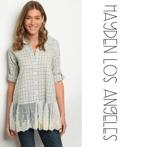 Hayden Los Angeles Tops - 3 FOR $30 • NEW Checkered Button Down w/Lace Trim